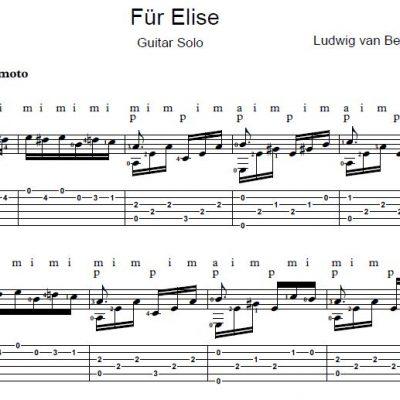 Fur Elise Guitar Solo Sheet Music Free