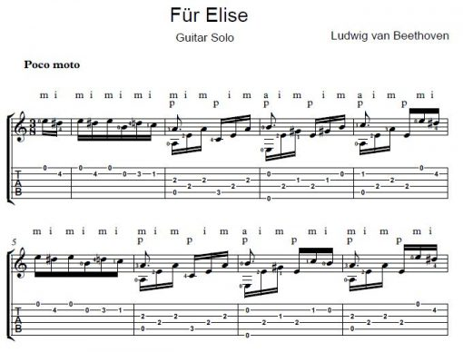 Fur Elise Guitar Solo Sheet Music Free