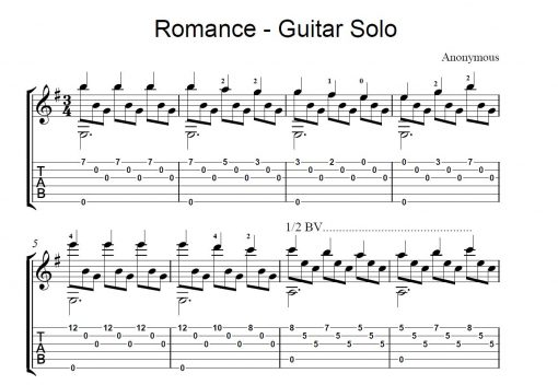 Romance Guitar Solo Sheet Music