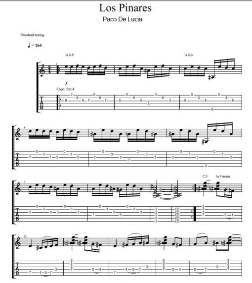 Flamenco Guitar Sheet Music | Los Pinares by Paco de Lucia